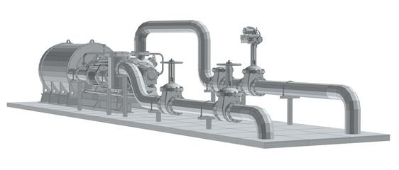 Industrial equipment pump. Wire-frame. EPS10 format. Vector rendering of 3d.