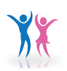 Logo couple dancing vector image