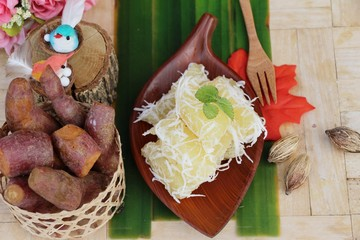 Sweet potato crushed with coconut , Thai dessert