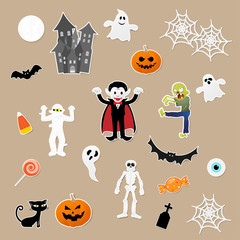 Set of characters in cartoon style with pumpkin, dracula, skeleton, mummy, zombie, black cat, bat, castle, ghost and elements of halloween festival on paper background. Vector illustration.