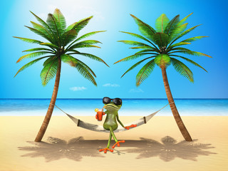 Green frog in the sun - 3D Illustration