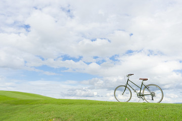 bicycle in the park with blue sky