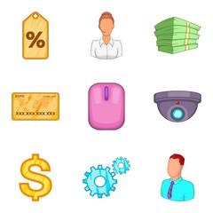 Stock icons set, cartoon style