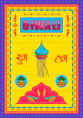 Happy Diwali India festival greeting background in Indian truck kitsch art style