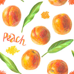 Crayon peaches with leaves seamless pattern. Hand drawn artistic fruit repeatable background with oil pastels. Colorful illustration.