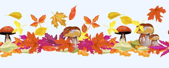 autumn leaves. horizontal seamless pattern