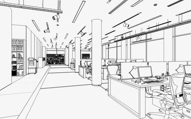Bürofläche mit Einrichtung (Zeichnung)