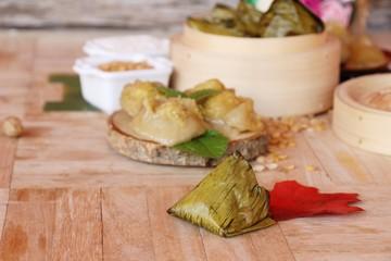 Stuffed dough pyramid dessert is delicious ( Kanom Tien)