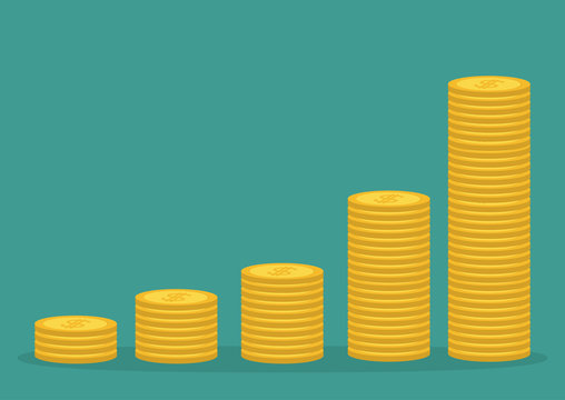 Gold coin stacks icon in shape of diagram. Dollar sign symbol. Cash money. Going up graph. Income and profits. Growing business concept. Isolated. Green background. Flat design.