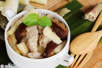 Bamboo shoot boiled soup with pork delicious