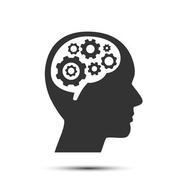 Head with gears in brain, object on a white background, Vector illustration