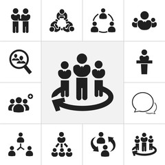 Set Of 12 Editable Community Icons. Includes Symbols Such As Staff Structure, Speaker, Friendship And More. Can Be Used For Web, Mobile, UI And Infographic Design.