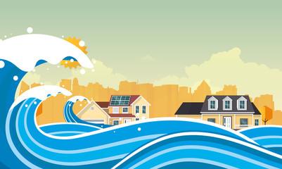 Tsunami, Flood Disaster, Vector Illustration. Overflooded Landscape. Eps 10