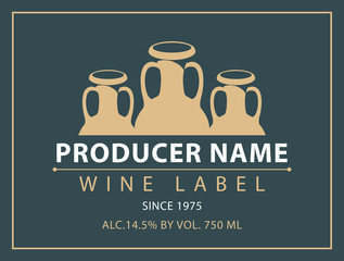Vector label for bottle of wine with a picture of three clay pitchers in retro style