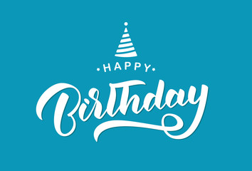 Vector illustration: Handwritten lettering composition of Happy Birthday on blue background. Typography design. Greetings card
