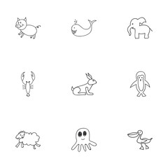 Set Of 9 Editable Zoology Doodles. Includes Symbols Such As Cachalot, Ewe, Lobster And More. Can Be Used For Web, Mobile, UI And Infographic Design.