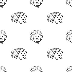 Hedgehog hand drawn vector seamless pattern. Isolated Sketch organic food drawing background. Hedgehogs isolated on white background. Hedgehog stylized line fun seamless pattern for kids and babies.