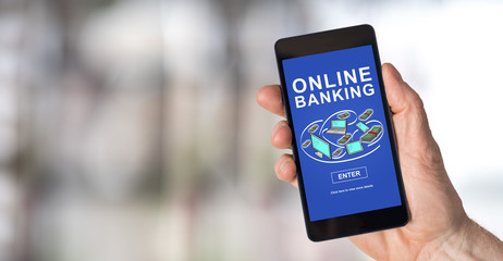 Online banking concept on a smartphone