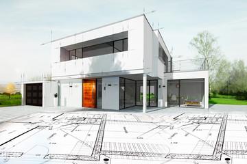Dessin d'une maison d'architecte avec plan Wall mural