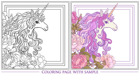 Poster with the unicorn, a bouquet of roses and butterflies on w