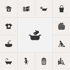 Set Of 13 Editable Cleanup Icons. Includes Symbols Such As Cold Water, Unclean Blouse, Pure Home And More. Can Be Used For Web, Mobile, UI And Infographic Design.