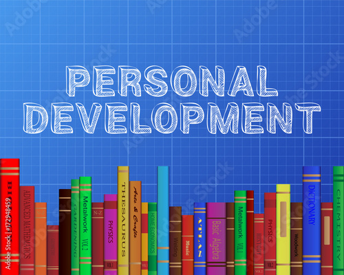 Personal development books blueprint stock image and royalty free personal development books blueprint malvernweather Choice Image