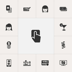 Set Of 13 Editable Game Icons. Includes Symbols Such As Gamble, Push Cursor, Raffle And More. Can Be Used For Web, Mobile, UI And Infographic Design.