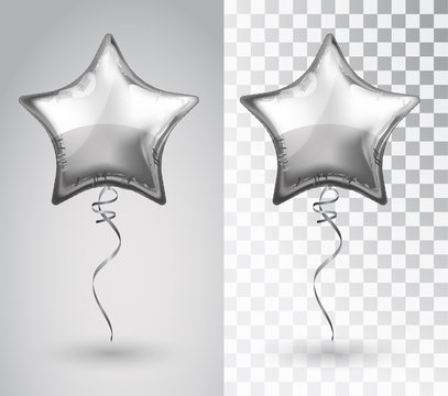 Star silver balloon on transparent background. Vector isolated object.