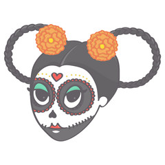 Sugar skull female head with braids and flowers in Halloween style, cute vector drawing isolated on white background