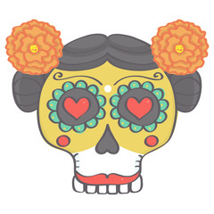 Colorful female sugar skull head in Mexican Day of the Dead style, vector drawing isolated on white background