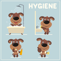 Set of funny puppy dog is hygiene: showering, washing hands, brushing her teeth. Collection isolated of puppy dog in cartoon style for rules of child hygiene