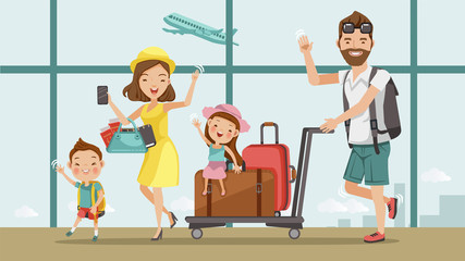 Family travel Family travel. Father ,mother, son and daughter at the airport.Happy family concept. Cartoon Asian Character Family, illustration, vector,Isolated from the background Airport