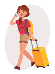 Cartoon character design female talk on the phone travel with luggage