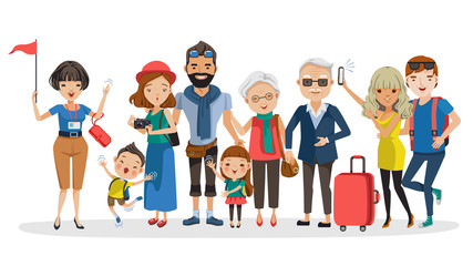 Guide Tour guides and tourist groups big family. Grandfather,grandmother,father,mother,girl,boy, friend,teen and girlfriend at Selfie,carrying a bag, camera,waving and laughing