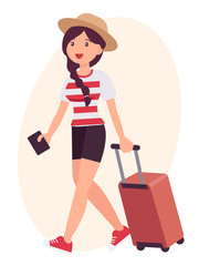 Cartoon character design female travel with luggage and passport on the way to airport