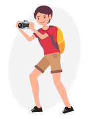 Cartoon character design male man take picture with camera