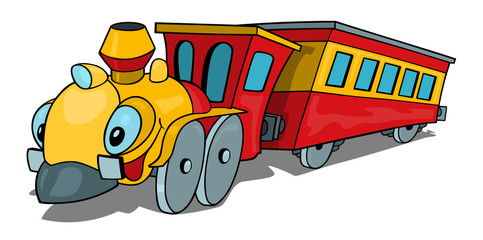 Cartoon Train wit Smiling Locomotive and Railway Carriage - Illustration, Vector