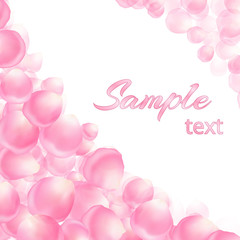 Celebratory background with falling petals on white backdrop with place for text.