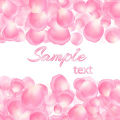 A festive romantic pattern with rose petals and a place for your text for congratulations.