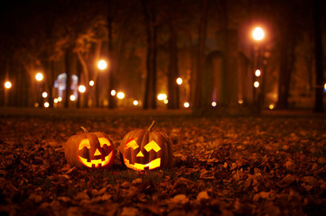Two Kind Halloween Pumpkins in the park
