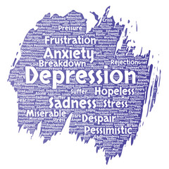 Vector conceptual depression or mental emotional disorder problem paint brush word cloud isolated background. Collage of anxiety sadness, negative sad, despair, unhappy, frustration symptom