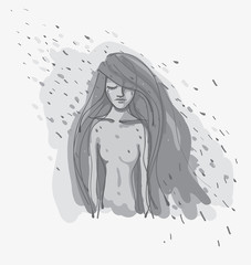 Autumn mood / Illustration of young sad woman in the rain