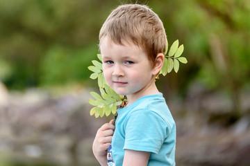 portrait of a little boy outdoors. Summer portrait