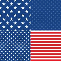 Independence Day in USA. Set of 4 seamless patterns
