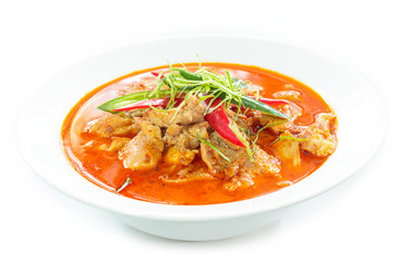 Thai food, Panaeng curry, red curry with chicken.