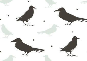 Hand drawn vector abstract cartoon Happy Halloween illustration seamless pattern with ravens isolated on white background.