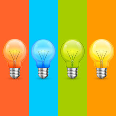 Lamp idea icon set, object light on color background, Vector illustration