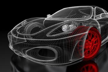 3D car mesh on a black