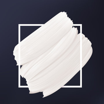 Black and white abstract background. White vector smear in frame. Liquid texture Logo template.