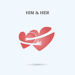 HIM and HER,FRIENDS FOREVER vector logo design template.Wedding logo.Bridegroom and Bride icon idea concept.Family,man,woman,boy and girl,Boyfriend and girlfriend.Love and Heart Care logo